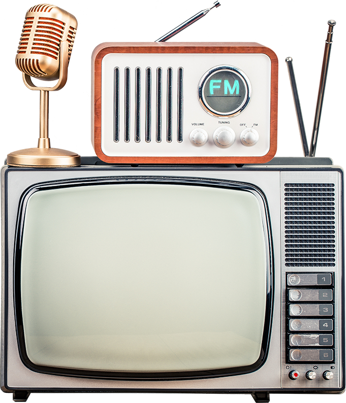 Retro TV with a microphone and radio on top